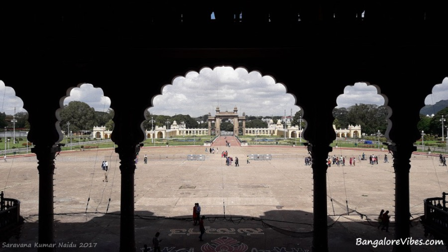 View from inside the Mysore Palace